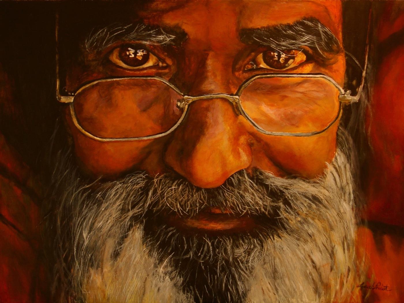 L. Probst - Old Man - Acrylic - Teen Class - Study